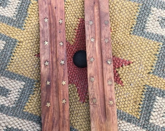 Sun and moon with stars incense burner/holder