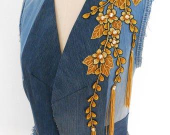 Upcycled Denim Sleeveless Long Jacket, Size M-L