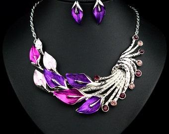 Silver Plated Swarovski Crystal Party Choker Necklace & Earring Set SZ0055