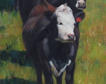 Cows - western art - ranch - oil painting - original art - Pamela Poll