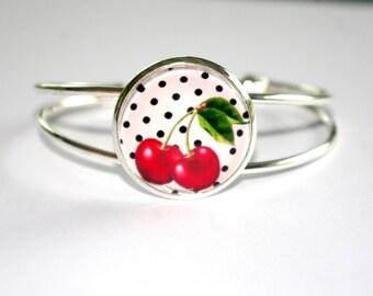 bracelet ajustable cerises rockabilly