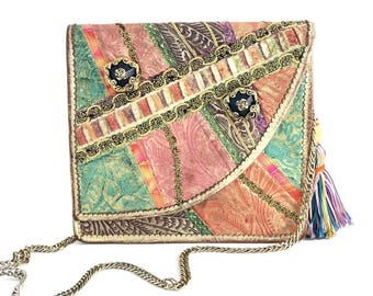 Carlo Fiori Vintage Leather Patchwork Handbag Gold Chain Evening Clutch Estate