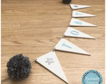 Wooden name bunting grey blue and silver star personalised hanging pom poms baby girls boys bedroom nursery playroom sign hanging plaque