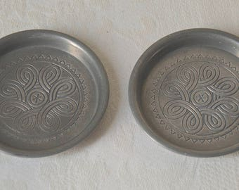 Dishes With Celtic Decor, Vintage Lead Free Pewter, Handmade In Austria By  Berndorf