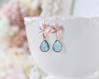 Aqua Blue Crystal Rose Gold Orchid Flower Dangle Earrings, Aquamarine March Birthstone Jewelry, Wedding Bridal Jewelry, Bridesmaid Gift