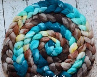 Superwash Merino/ Nylon 'Bahama Breeze' 4 oz combed top, superwash merino roving, Created by Elsie B hand dyed roving, aqua spinning fiber