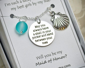 Maid of Honor Necklace Shell Necklace, Maid of Honor Gift, Maid of Honor Beach Wedding, Maid of Honor Jewelry, Beach Wedding Jewelries