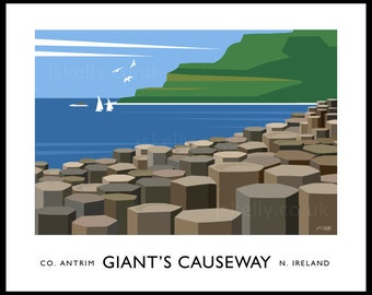Giant's Causeway - vintage style railway travel poster art of Ireland