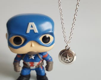 Captain America Shield Charm Necklace, Marvel, Superhero, Avengers, Handmade Silver Charm Necklace, Gift
