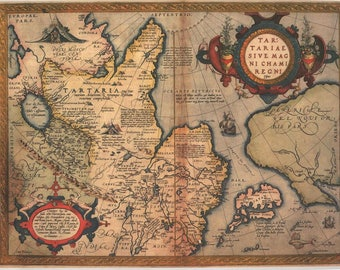 Antique map of Tartary, Central Asia, 1730, huge map, fine art print