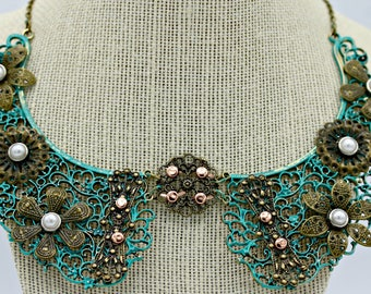 Steampunk Industrial Bib Necklace with Brass and Pearls on 16 Inch Brass Chain