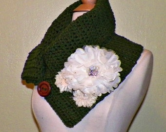 Green Cowl Scarf  Button Infinity Neckwarmer Collar Earth Tone With Flower Brooch Freeform Crochet