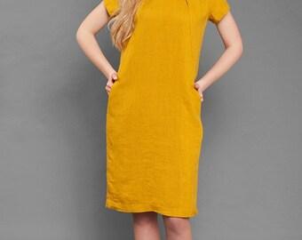 Linen women dress, Pure linen dress, Yellow dress, Eco Linen Dress, Linen clothing, linen clothes, Organic Linen Dress