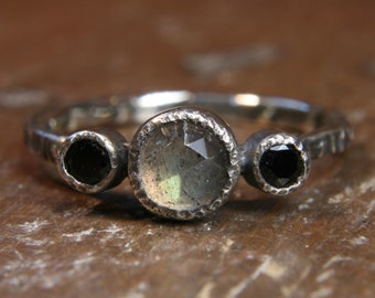 Eco Gothic labrodorite and black spinel engagement ring. Hand made in the UK