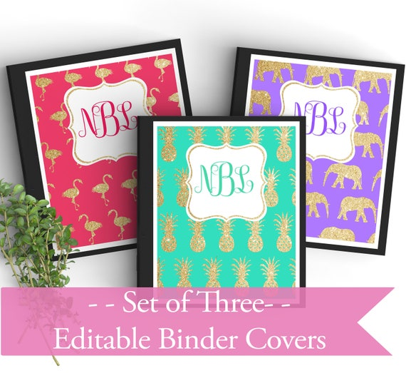 Set Of 3 Monogram EDITABLE Binder Covers-Gold Glitter