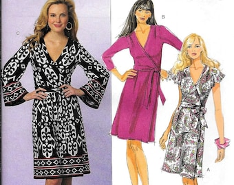 Butterick B5454 Vintage 80's Style Wrap Around Dress Sewing Pattern UNCUT Size 8, 10, 12, 14