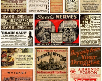DRUG THERAPY - Digital Printable Collage Sheet - Medicinal Cocaine, Heroin & Cannabis, Vintage Apothecary Labels, Snake Oil Medicine Ads