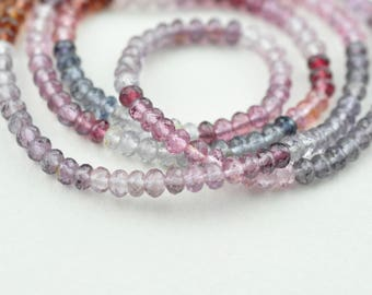 AAA MicroFaceted Multicolored Spinel Gemstone Rondelle Beads