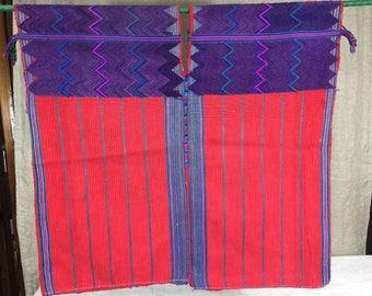 Vintage Guatemalan red and purple huipil