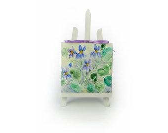 Violets painted on canvas, gift for Mother's Day, grandma. Kind thought for her feminine gift with spring flowers. Wall art