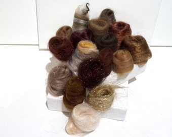 Brown Fiber Art kit Sampler, felting wool, spinning, blending board fiber, Needle Felting kit, brown palette: tan beige taupe chocolate 1 oz