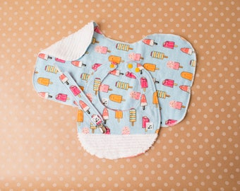 Popsicles Summer Baby girl Newborn Gift set Paciclip Bib Burp cloth Flannel Chenille Little Tommys Soft Absorbent Blue Pink Orange