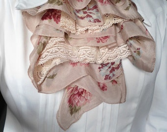 floral fabric and pale pink lace jabot