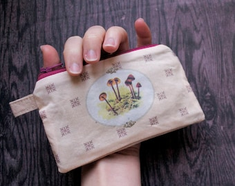 Mycology Mania - Mushroom Pouch - one of a kind zipper - lined  - retro vintage illustration - mori girl prairie calico - Handmade in USA