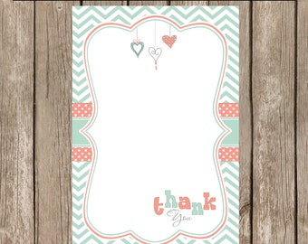 Mint and coral thank you note, chevron thank you note, mint and coral baby shower, 4x6 Thank You Note Cards-  mc1 INSTANT DOWNLOAD