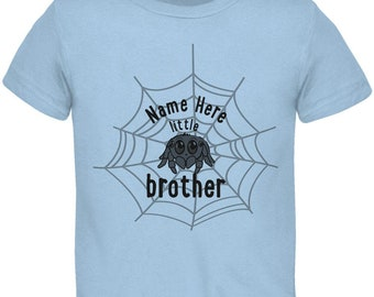 Custom Little Brother Cute Spider Personalize Name Toddler T Shirt