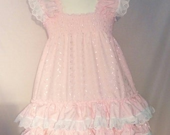 ALL Sizes 40GBP Adult Baby Sissy Short Dress in Pink Broderie Anglais frilly