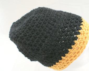 Black Slouch Hat, Gold Slouchy Cap,  Black and Gold Hat, Knit Sock Cap, Mens Crochet Hat, Back to School Cap, School Hat