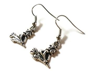 Silver Witch Earrings, Metal Charm Earrings, Dangle Earrings, Drop Earrings, Halloween Jewelry, Teen and Women's Jewellery, Gift for Her