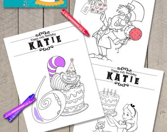 Set of 3 Printable Personalized Alice in Wonderland Birthday Coloring Page Files by Carta Couture