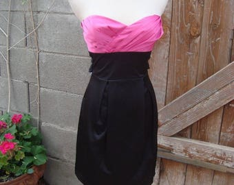 1980s Pink & Black Strapless Party Dress By Trixxi Size 3