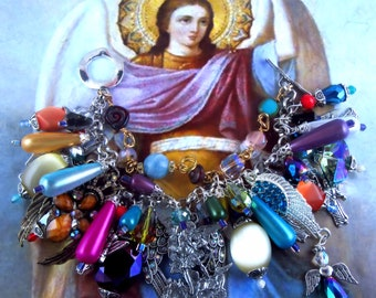 "Archangel St. Michael ""One Who is like God"" and Archangels Religious Handmade Angels Charm Bracelet"