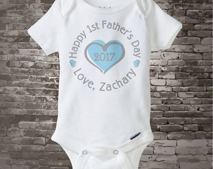 New Dad Gift, Happy 1st Father's Day Onesie,  Personalized First Fathers Day Onesie or Tee shirt with Blue Heart 05242017d