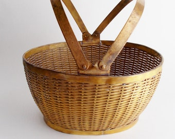 Vintage Basket Easter Decor Brass Woven Gatco Solid Brass Basket Made in India