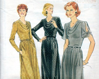 70s Style Sewing Pattern 2872 Misses Cowl Neckline Dress Size 12 Bust 87cm