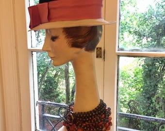 Lilly Dache' c1950 dark purple velvet,pink ribbon,beige rhim Hat