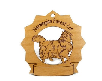 7262 Norwegian Forest Cat Personalized Wood Ornament