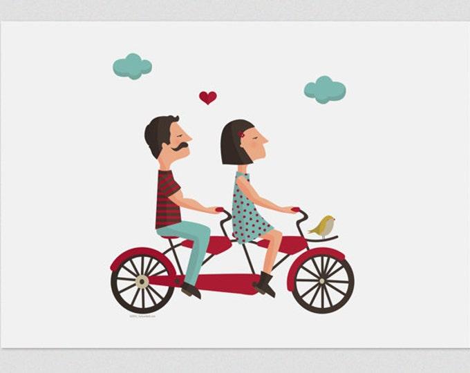 """Ilustración """" Tándem de amor """""""