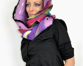 Multicolor Scarf  / Nuno felting scarf / Felted loop scarf  / Handmade felted scarf / Merino wool / Wool Scarf.