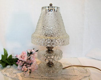 Glass Buttons and Daisy Boudoir Lamp, Clear Glass Vanity Lamp, Mid Century Lamp