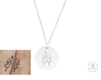 925 Silber Kette mit Tattoo Gravur