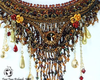 Bead Embroidery Necklace, Beaded Collar Necklace, Night in the French Quarter, BOTB 2012