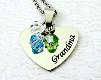 Grandma Necklace - Grandma Heart Necklace - Mom Heart Necklace -  Custom Grandma Heart - Mothers Day gift, Engraved Necklace