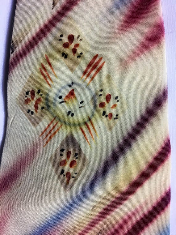 1940s Hand Painted Nylon Tie from Pennys of CA