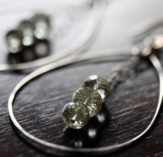 Silver Hoop Earrings,  Hammered Sterling Silver Hoops,  Prasiolite Jewelry, Green Amethyst Earrings, Green Stone Earrings