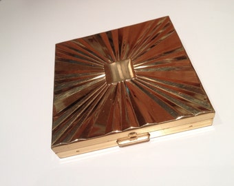 Vintage Max Factor Goldtone Compact with Beveled Design - Has Mirror, Puff, and Powder